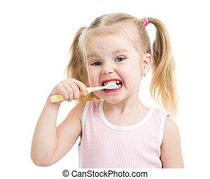 子供, 女の子, ブラシをかける 歯, 隔離された, 白