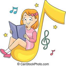 子供, 女の子, モデル, 読まれた, 本, 音楽ノート