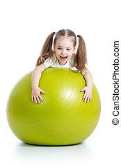 子供, 女の子, 楽しい時を 過すこと, ∥で∥, 体操の球技, 隔離された