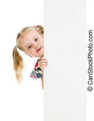 子供, 女の子, 用心する, の, ブランク, 広告, 旗