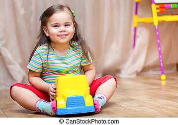 子供, 女の子, 遊び, ∥で∥, a, おもちゃ 車