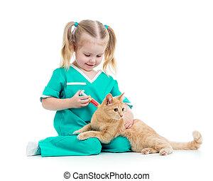 子供, 女の子, 遊び, 医者, ∥で∥, ねこ, 隔離された