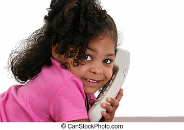 子供, 女の子, 電話