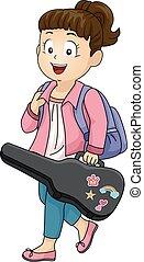 子供, 女の子, 音楽, バイオリン, ギターの症例