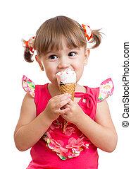 子供, 女の子, 食べること, ∥で∥, アイスクリーム, 中に, スタジオ, 隔離された, 白, 背景