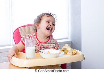 子供, 女の子, 食べること, 健康に良い食物