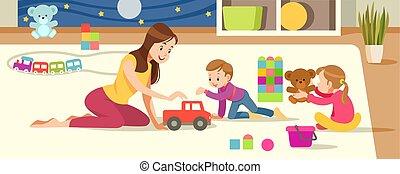 子供, 子供のおもちゃ, creativity., 遊び, playroom., 母