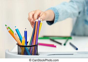 子供, 子供, 取得, 図画, 鉛筆, 仕事場