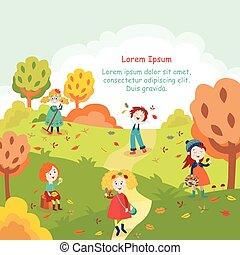 子供, 子供, 楽しい時を 過すこと, 中に, 秋, 秋, 公園