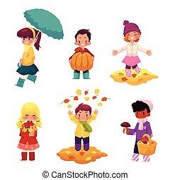 子供, 子供, 楽しい時を 過すこと, 中に, 秋, 秋, 季節