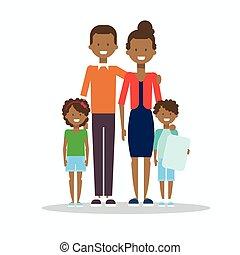 子供, 家族, アフリカ, 隔離された, 2, アメリカ人, 親, 包含, 幸せに微笑する