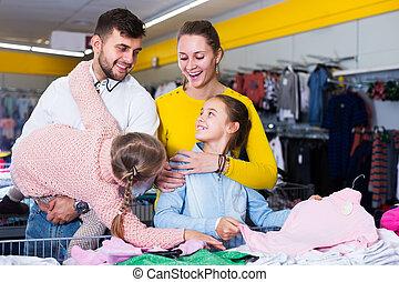 子供, 家族, 衣服, 購入