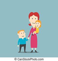 子供, 家族, 2, 母, 肖像画, 幸せ