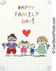 子供, 家族, dad., picture., お母さん, 日, 幸せ