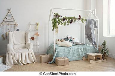 子供, 寝室, 形, 飾られる, ベッド, カバーされた, 肘掛け椅子, 家