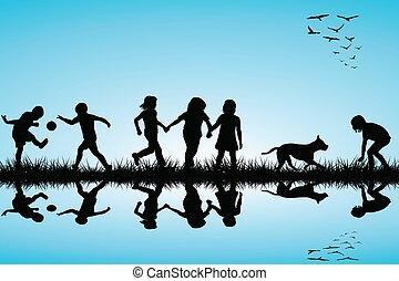 子供, 屋外, グループ, 犬, 遊び