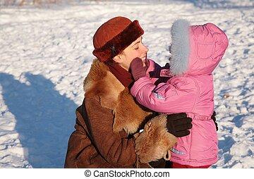 子供, 屋外, 冬, 母
