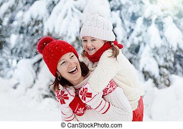 子供, 帽子, 母, 冬, 編まれる, snow.