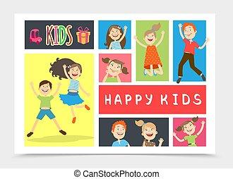 子供, 平ら, カラフルである, 構成, 幸せ