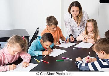 子供, 年齢, 図画, 教授, 基本