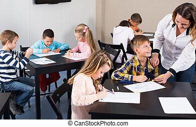 子供, 年齢, 教室, 図画, 教師, 基本