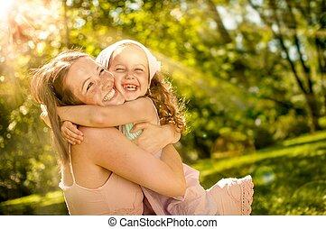 子供, -, 幸福, 彼女, 母