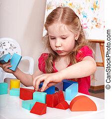 子供, 幼稚園児, プレーしなさい, 木, block.