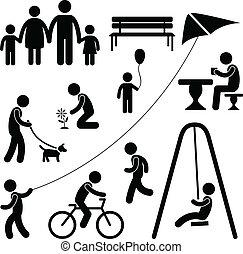 子供, 庭, 運動場, 公園