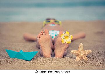 子供, 弛緩, 浜