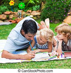 子供, ∥(彼・それ)ら∥, 図画, 微笑, 父