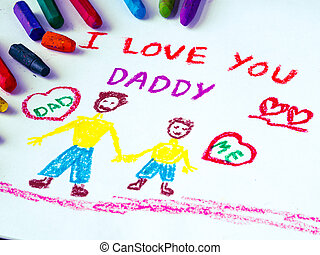 子供, 彼の, 愛, 父, 図画, 父, message., 主題, 子を抱く, あなた, お父さん, 日, 幸せ