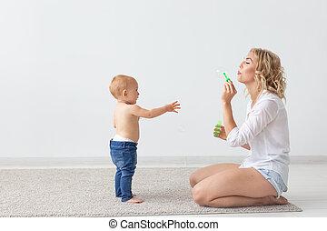 子供, -, 彼女, 単一 母, baby., 遊び, 概念, 親