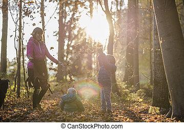 子供, 彼女, 投げる, 葉2, 空気, 秋の森林, 母, 楽しみ, 持つこと