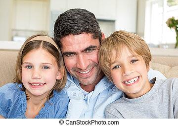 子供, 微笑, 父, 家