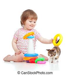 子供, 愛らしい, 遊び, 子ネコ