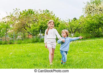 子供, 愛らしい, 遊び, 屋外で