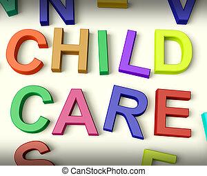 子供, 手紙, プラスチック, 書かれた, 子供, 多彩, 心配