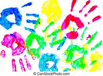 子供, 手, カラフルである, プリント
