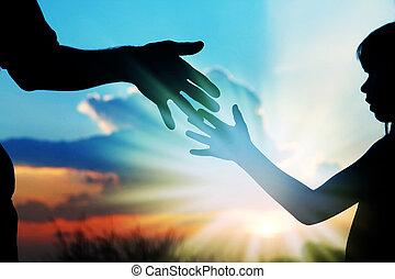 子供, 手, シルエット, 親, 自然