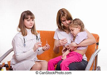子供, 打撃, モデル, 得なさい, 行く, 小児科医, 病気, 手, 母