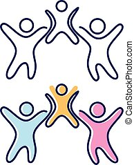 子供, 抽象的, 人々, 3, シンボル, ベクトル, アイコン