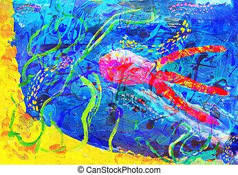 """子供, 抽象的, """"underwater, world"""", -, アートワーク"""