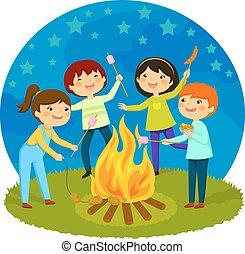 子供, 持つこと, たき火