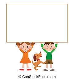 子供, 持つ, whiteboard