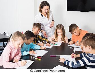 子供, 教室, 図画, 基本的な 年齢, 学校