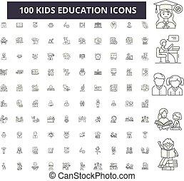 子供, 教育, editable, 線, アイコン, 100, ベクトル, セット, collection., 子供, 教育, 黒, アウトライン, イラスト, サイン, シンボル