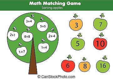 子供, 数学, 数学, 数える, 教育, ゲーム, children., 付加, 似合う, activity.