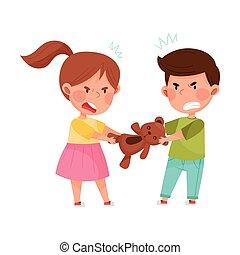 子供, 敵対的である, 戦い, 上に, 怒る, おもちゃ, 熊, ベクトル, しかめっ面をしなさい, イラスト