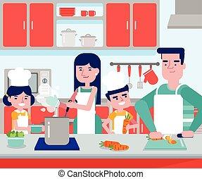 子供, 料理, 一緒に, ∥(彼・それ)ら∥, 親, コーカサス人