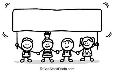 子供, 旗, 幸せ